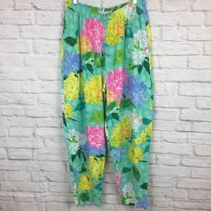 Jams World Hydrangia Floral Print Pants Large Pink